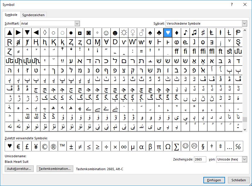Unicode Zeichen - Symbole Zeichen